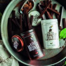 King Monty vegán csokoládé pálcikák fém díszdobozban