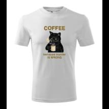 lifetrend.hu, póló, vicces, kávé, fekete macska, kávézó macska, coffee, black cat, cat with coffee