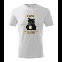 lifetrend.hu, póló, vicces, kávé, fekete macska, kávézó macska