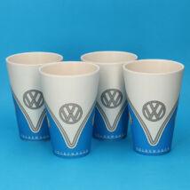 VW kék retro Volkswagen bambusz pohárszett (4 db)