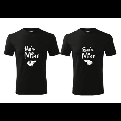 ajándék, egyedi, vicces, póló, páros póló, Minnie, Mickey, he is mine, she is mine, szerelmes, valentin nap
