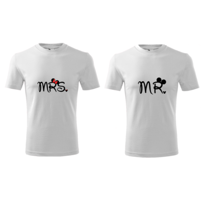 ajándék, egyedi, vicces, póló, páros póló, mr, mrs, minnie, mickey, szerelmes, valentin nap