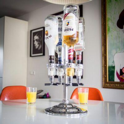 ajándék; italadagoló;  lifetrend.hu; inas, Ital inas, négy üveges italtartó és adagoló